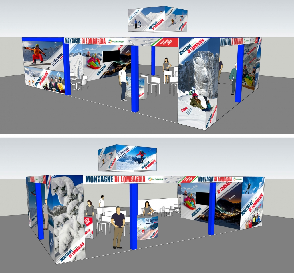 rendering stand montagne di lombardia